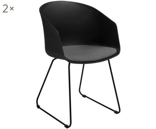 Armlehnstühle Bogart mit Sitzkissen, 2 Stück, Sitzschale: Kunststoff, Bezug: Polyester, Beine: Metall, lackiert, Stuhl: Schwarz<br>Sitzkissen: Dunkelgrau<br>Beine: Schwarz, 51 x 81 cm