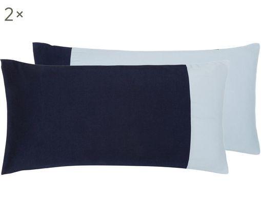 Baumwollsatin-Wendekissenbezüge Amelia, 2 Stück, Webart: Satin, Hellblau, Dunkelblau, 40 x 80 cm