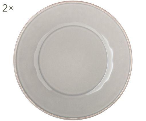 Assiettes plates Constance, 2pièces, Gris clair