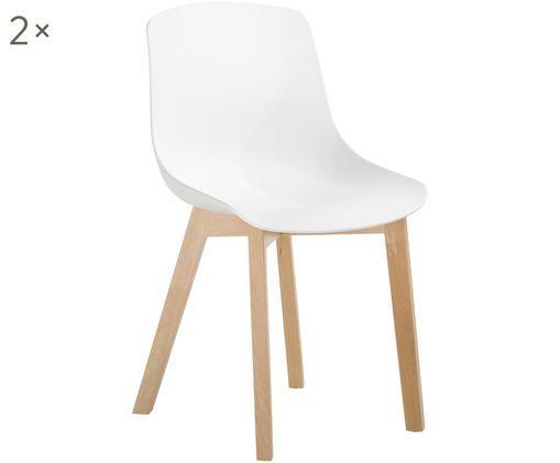 Sedie Joe, 2 pz., Seduta: materiale sintetico, Gambe: legno di faggio Il legno , Bianco, Larg. 46 x Alt. 82 cm