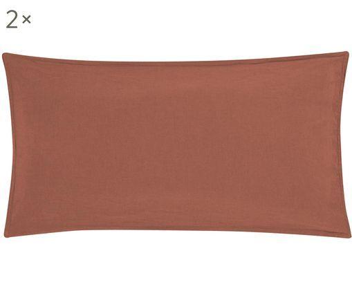Poszewka na poduszkę z lnu Carla, 2 szt., 52% len, 48% bawełna Efekt sprania, Brązowy, S 40 x D 80 cm