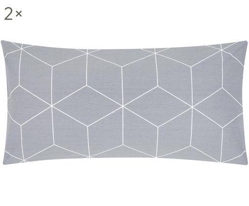 Dwustronna poszewka na poduszkę z bawełny renforcé Lynn, 2 szt., Szary, kremowy, S 40 x D 80 cm