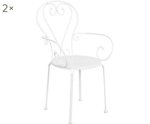 Krzesło Century, 2 szt., Metal malowany proszkowo, odporny na warunki atmosferyczne i trwały Gumowe nasadki na nogach zapewniają antypoślizgowy spód i dodatkową ochronę przed zarysowaniami na delikatnych podłogach, Biały, S 49 x G 53 cm