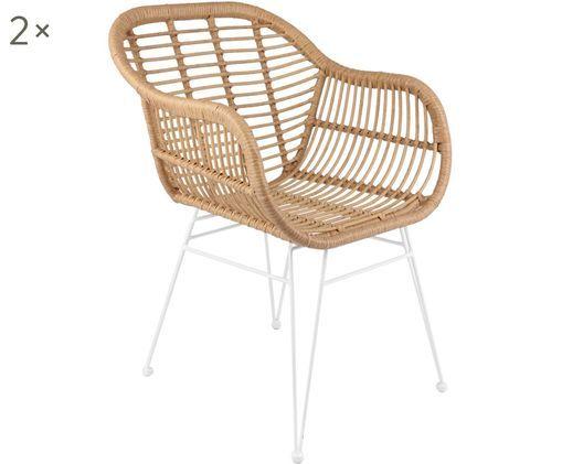 Sedie con braccioli Costa, 2 pz., Seduta: treccia di polietilene, Struttura: metallo verniciato a polv, Marrone, L  59 x P  61 cm