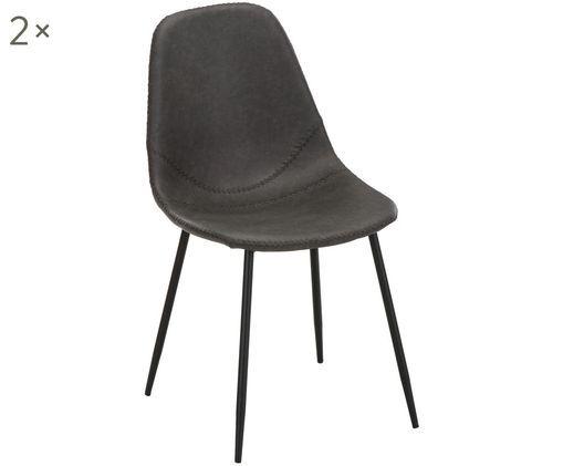 Kunstleren stoelen Linus, 2 stuks, Bekleding: kunstleer (65% polyethyle, Poten: gepoedercoat metaal, Bekleding: donkergrijs. Poten: mat zwart, B 41 x D 53 cm