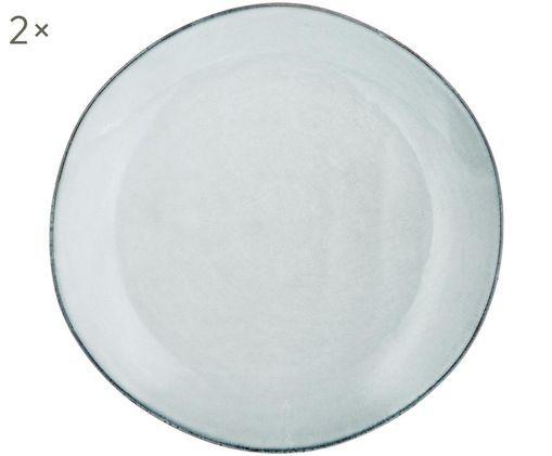 Piatto da colazione fatto a mano Thalia 2 pz, Ceramica, Grigio con bordo scuro, Ø 22 cm