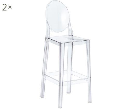 Barstühle One More, 2 Stück, Polykarbonat, Transparent, 38 x 114 cm