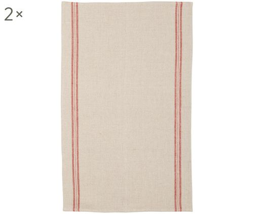 Canovaccio in lino beige con strisce rosse Landhaus, 2 pz., Beige, rosso, Larg. 50 x Lung. 70 cm