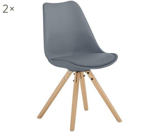 Chaises avec assise en cuir synthétique Max, 2pièces, Gris foncé Pieds: bois de hêtre