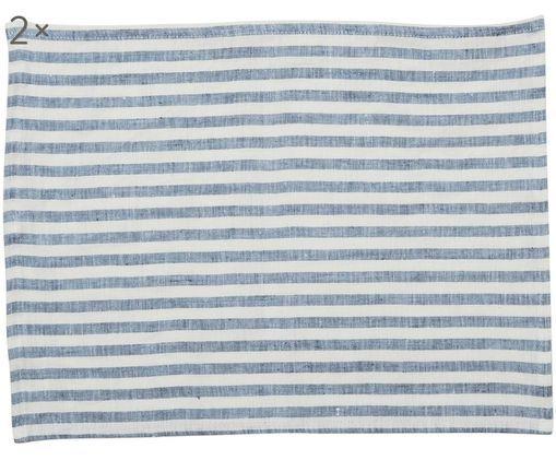 Sets de table pur lin Solami, 2 pièces, Bleu ciel, blanc