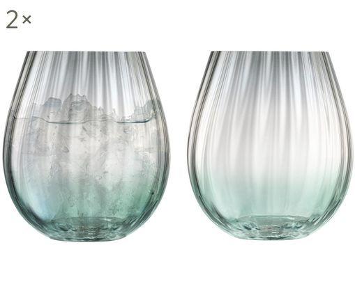 Handgefertigte Wassergläser Dusk mit Farbverlauf, 2er-Set, Glas, Grün, Grau, Ø 9 x H 10 cm