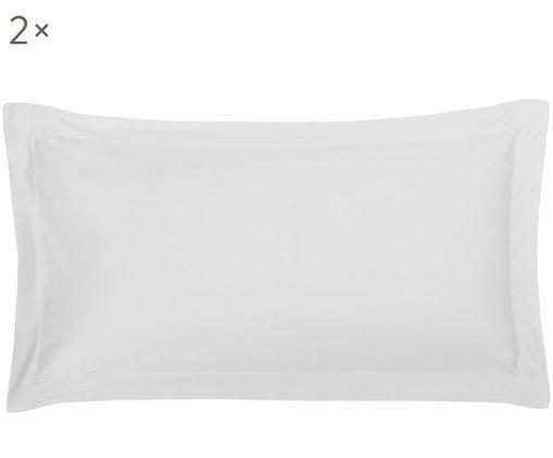 Baumwollsatin-Kissenbezüge Premium mit Stehsaum, 2 Stück, Webart: Satin, leicht glänzend, Hellgrau, 40 x 80 cm