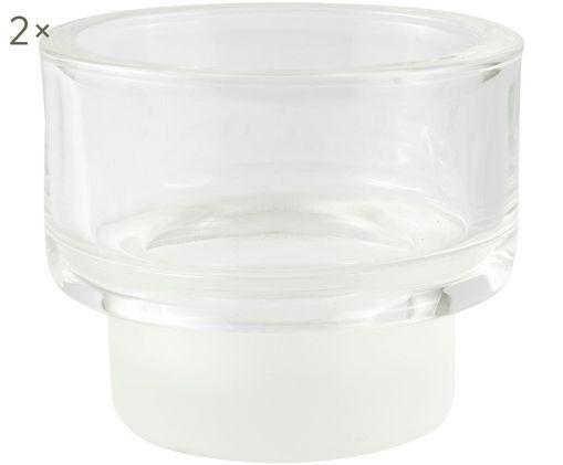Teelichthalter Layer, 2 Stück, Glas, Transparent, Ø 9 x H 8 cm