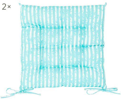 Outdoor-Sitzkissen Little Stripes, 2 Stück, Bezug: Polyester, Türkis, Weiß, 38 x 5 cm