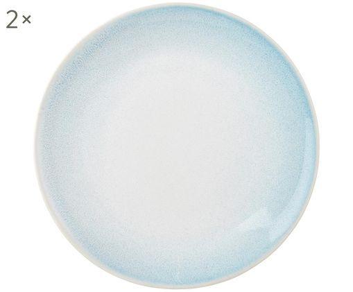 Assiettes à dessert artisanales Amalia, 2 pièces, Bleu ciel, blanc crème
