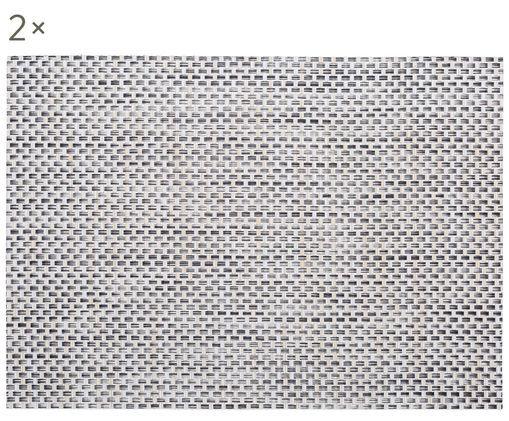 Placemats in materiale sintetico Modern, 2 pz., Materiale sintetico, Beige, grigio chiaro, P 33 x L 46 cm
