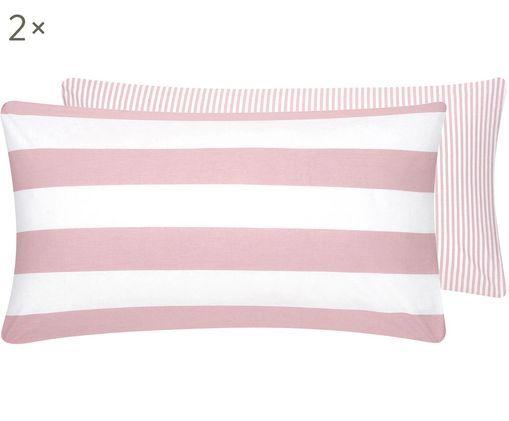 Dwustronna poszewka na poduszkę z bawełny renforcé Lorena, 2szt., Blady różowy, biały, S 40 x D 80 cm