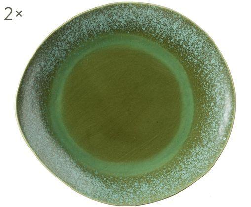 Handgefertigte Platzteller 70's, 2 Stück, Keramik, Grüntöne, Ø 29 cm