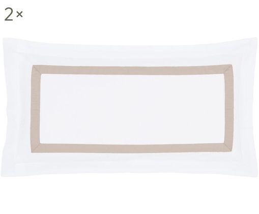 Baumwollsatin-Kissenbezüge Nora in Weiß/Taupe, 2 Stück, Webart: Satin, Weiß, Taupe, 40 x 80 cm