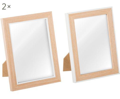 Bilderrahmen Manja, 2 Stück, Rahmen: Braun, Weiß Front: Transparent