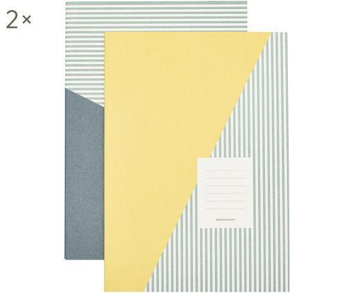 Notitieboeken Combo, 2 stuks, Papier, Geel , groen , wit, 21 x 30 cm