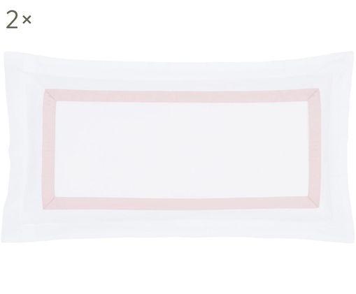Poszewka na poduszkę z satyny bawełnianej Nora, 2 szt., Biały, blady różowy, S 40 x D 80 cm