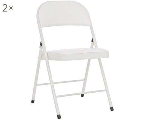 Krzesło rozkładane Felicity, 2 szt., Stelaż: metal malowany proszkowo, Beżowy, S 45 x G 45 cm