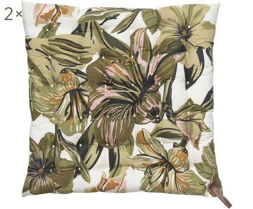 Sitzkissen Lily Flower, 2 Stück, Bezug: Baumwolle, Schlaufe: Leder, Weiß, Khakitöne, Rosa, Braun, 40 x 40 cm