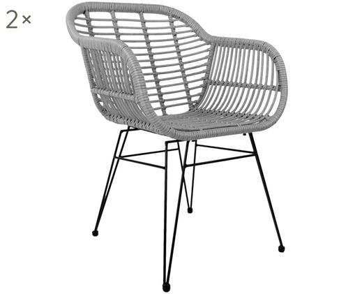 Polyrattan-Armlehnstühle Costa, 2 Stück, Sitzfläche: Polyethylen-Geflecht, Gestell: Metall, pulverbeschichtet, Grau, B 59 x T 61 cm
