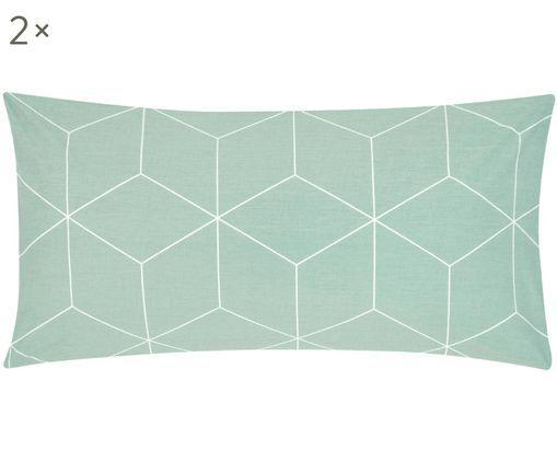 Dwustronna poszewka na poduszkę z bawełny renforcé Lynn, 2 szt., Miętowy, kremowy, S 40 x D 80 cm