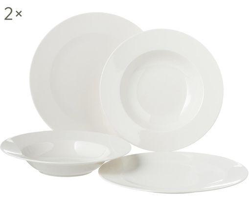Komplet talerzy For Me, 8 elem., Porcelana, Biały, Różne rozmiary