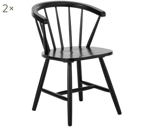 Windsor-Armlehnstühle Megan aus Holz, 2 Stück, Schwarz