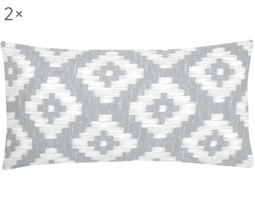 Poszewka na poduszkę z perkalu Calliope, 2 szt. , Szary, biały, S 40 x D 80 cm