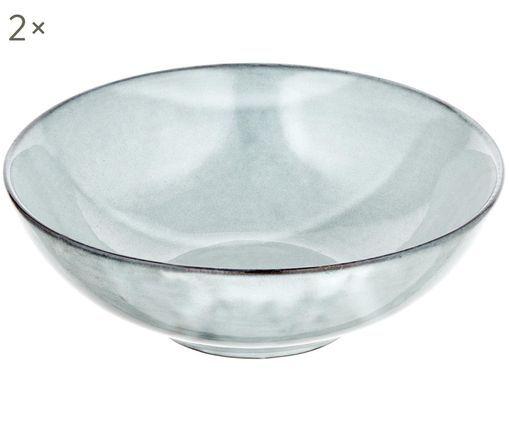 Handgemachte Suppenteller Thalia, 2 Stück, Steinzeug, Grau mit dunklem Rand, Ø 18 x H 6 cm