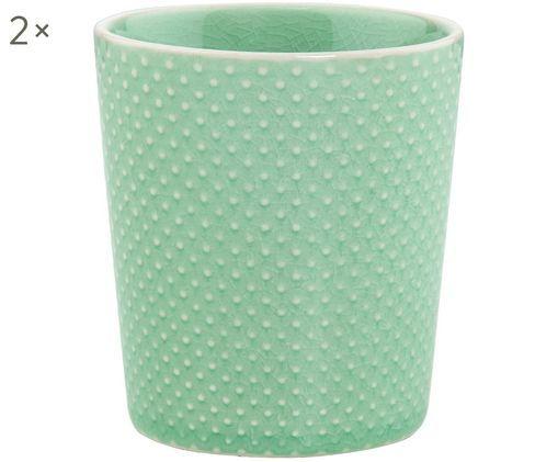 Becher Hanami Dots, 2 Stück, Steingut, Mint, Weiß, Ø 9 x H 8 cm