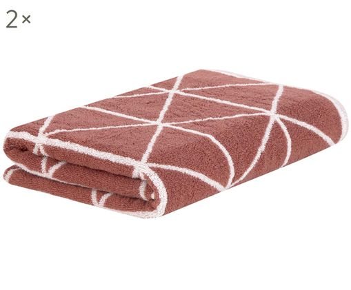Wende-Handtücher Elina, 2 Stück, Terrakotta, Cremeweiß