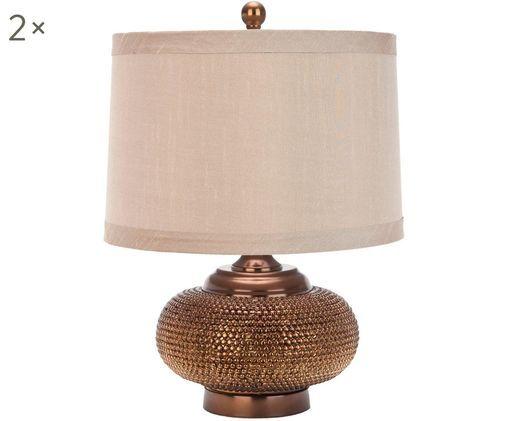 Lampada da tavolo boho Oriental 2 pz, Paralume: tessuto (70% poliestere, , Base della lampada: poliresina, Rame, Ø 36 x Alt. 48 cm