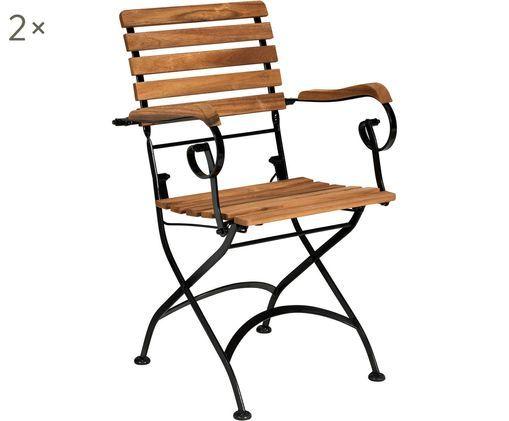 Chaises pliantes de jardin et à accoudoirs Parklife, 2 pièces, Noir, bois d'acacia