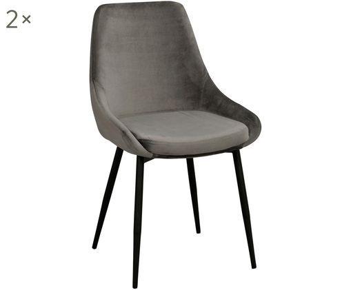 Fluwelen stoelen Sierra, 2 stuks, Bekleding: polyester fluweel, Poten: gelakt metaal, Grijs, zwart, B 49 x D 55 cm