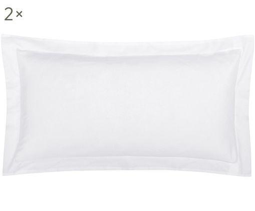 Baumwollsatin-Kissenbezüge Premium in Weiß mit Stehsaum, 2 Stück, Webart: Satin, leicht glänzend, Weiß, 40 x 80 cm
