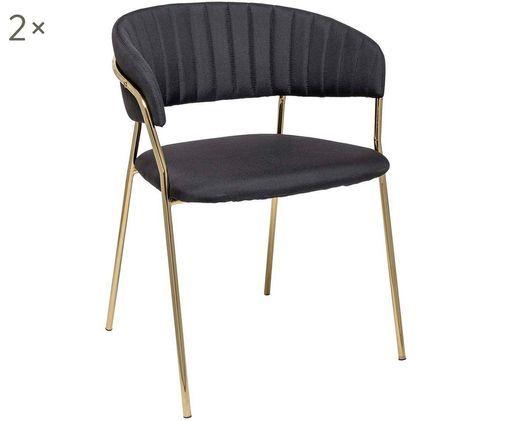 Krzesło tapicerowane Dini, 2 szt., Czarny, odcienie mosiądzu