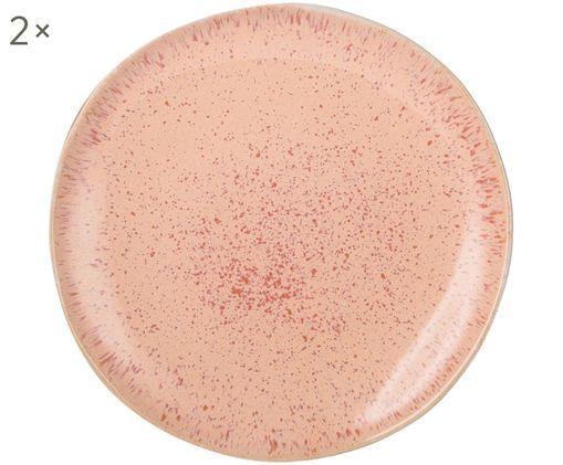 Piatti da colazione dipinti a mano Areia, 2 pz., Gres, Tonalità rosse, bianco latteo, beige chiaro, Ø 22 cm