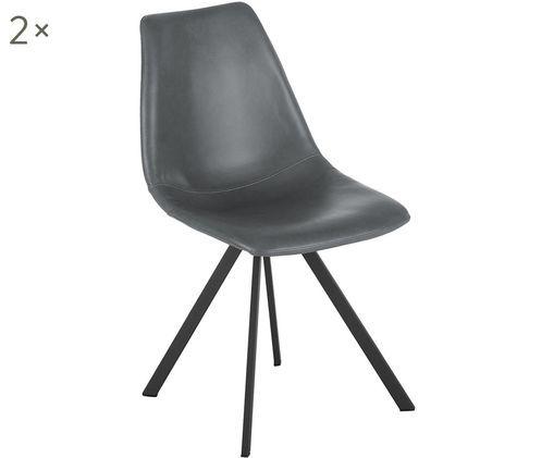 Krzesło tapicerowane ze sztucznej skóry Billy, 2 szt., Tapicerka: sztuczna skóra (poliureta, Nogi: metal malowany proszkowo, Szary, S 46 x G 58 cm