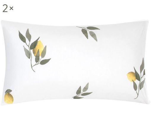 Poszewka na poduszkę z perkalu Limone, 2szt., Biały, żółty, zielony, S 40 x D 80 cm