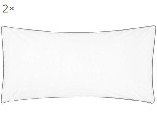 Poszewka na poduszkę z perkalu Daria, 2 szt., Biały Wykończenie brzegów: ciemny szary, S 40 x D 80 cm