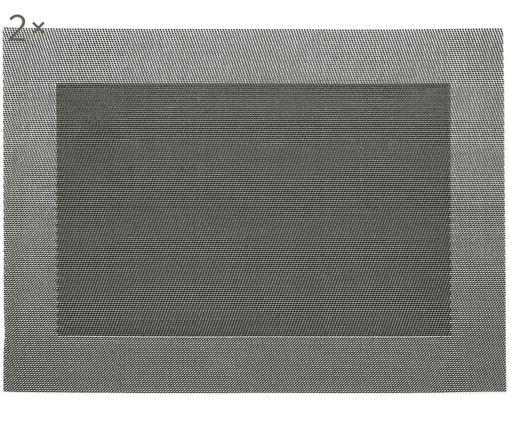 Sets de table en plastique Modern, 2pièces, Couleur argentée, noir