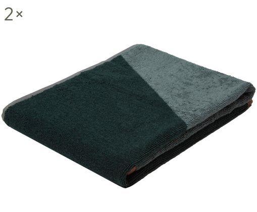 Handtücher Shades in Dunkelgrün, 2 Stück, Tannengrün, Mintgrün, Rosa, 50 x 95 cm