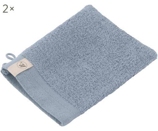 Guanti per il lavaggio Soft Cotton, 2 pz., Cotone, qualità media, 550g/m², Blu, Larg. 16 x Lung. 21 cm
