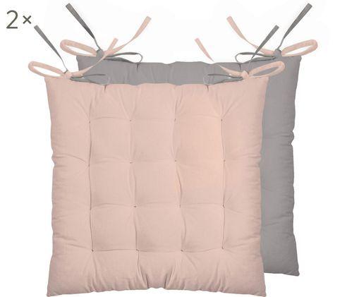 Wendesitzkissen Duo rosa/grau, 2 Stück, Puderrosa, Grau, 40 x 40 cm