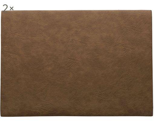 Podkładka ze sztucznej skóry Plini, 2 szt., Wegańska skóra, poliuretan, Brązowy, S 33 x D 46 cm